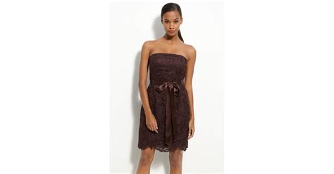 id315 strapless brown lace dress papell strapless lace sheath dress in brown