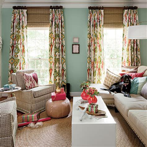 southern living curtains aesthetic oiseau colorful den via southern living