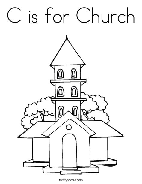 church coloring pages c is for church coloring page twisty noodle