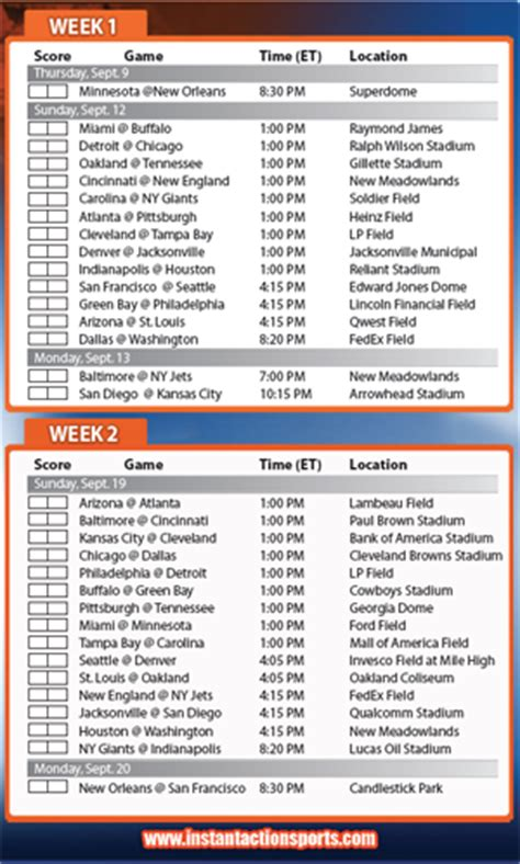 printable nfl league schedule syracuse academic calendar calendar template 2016