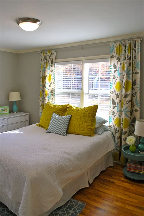 gray yellow teal curtains yellow teal grey bedroom bed room pinterest yellow