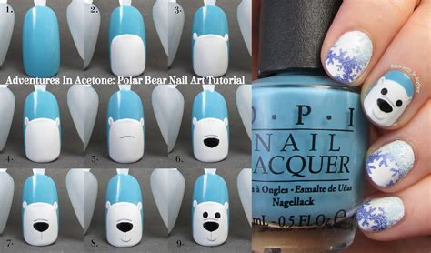 nail art tutorial easy no tools tutorial tuesday polar bear nail art adventures in acetone