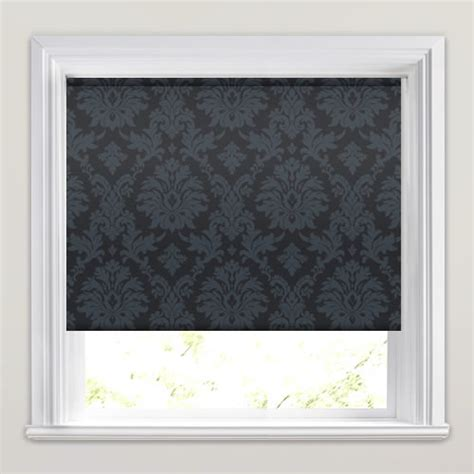 black patterned blinds shimmering silver pewter black damask patterned roller