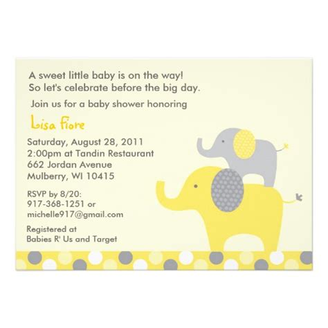 Neutral Baby Shower Invitations by Neutral Elephant Baby Shower Invitations Zazzle