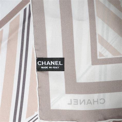 Chanel Stripe chanel silk camellia stripe cc scarf beige 62443