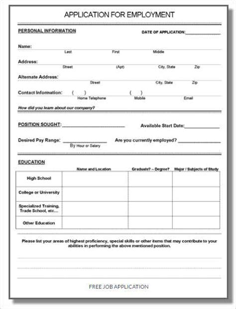 free employment application form template 190 application form sle exle format