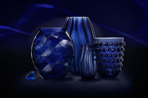 Lalique Blue Vase by Lalique Mossi Vase Midnight Blue