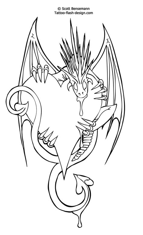 dragon tattoo outline designs free flash design printable
