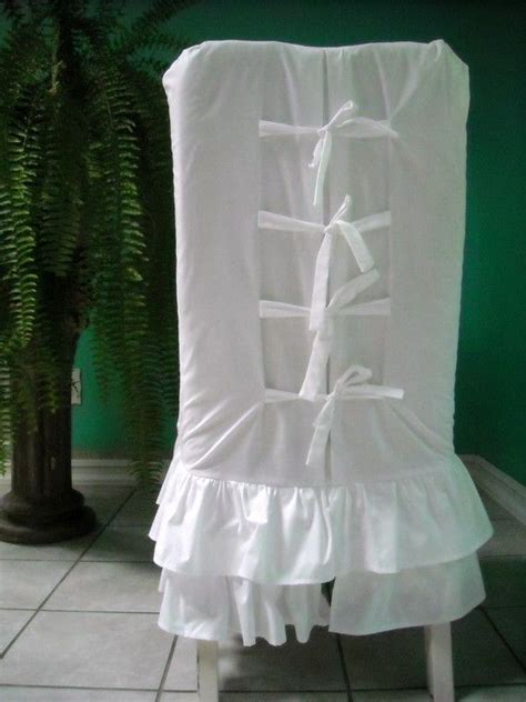 ruffled dining chair slipcovers white ruffled chair slipcover by paulaanderika on etsy