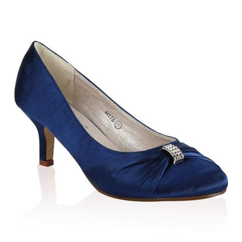 Navy Blue Satin Wedding Shoes by Bridal Wedding Womens Low Heel Satin Ruched Bow