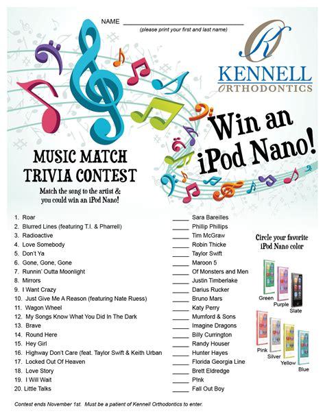 quiz contest themes music match trivia contest