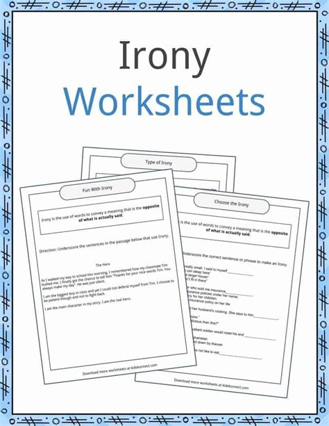 Irony Worksheets by Irony Worksheet Geersc