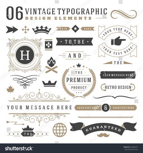 vintage classic design label elements retro vintage typographic design elements arrows stock