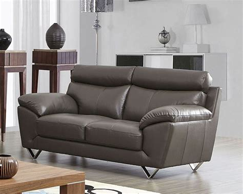 grey leather loveseat modern leather loveseat in grey color esf8049l