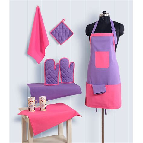 Docare Wash Gloves 4 Sheets 8pc kitchen linen set apron oven gloves plate holder
