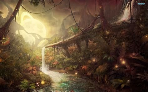 fantasy art wallpaper 2560x1600 75367 fantasy waterfall in the jungle alien landscapes i could