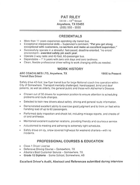Best Resume Writers Reviews by Bus Driver Resume Sample