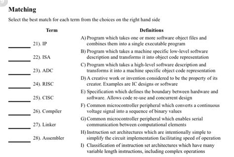 pattern matching questions in c solved matching select the best match for each term from