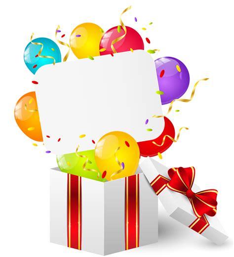 imagenes animadas en png imagen tarjeta con globos y regalo de cumplea 241 os png