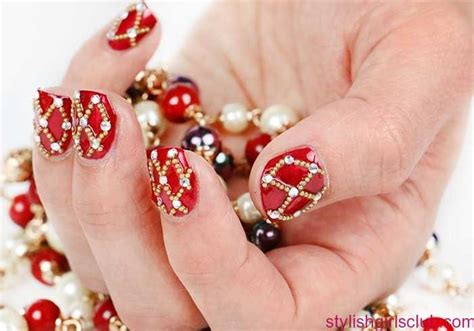 bridal red nail art design for wedding stylish girls club