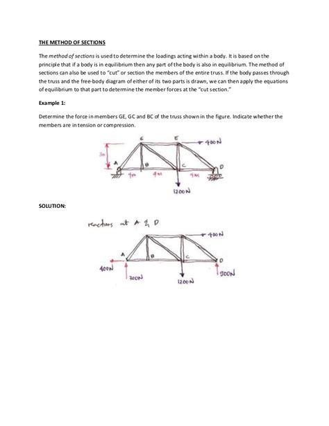 truss analysis method of sections structural analysis method of sections