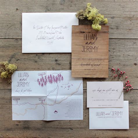 wood wedding invitations earthy wood and floral wedding invitation from akimbo