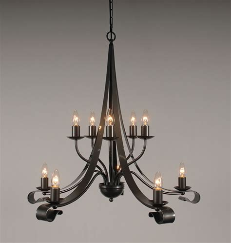 Wrought Iron Candle Chandelier The Somerby 2 Tiered 10 Arm Wrought Iron Candle