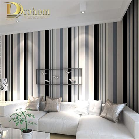 Striped Wallpaper Living Room Ideas by Aliexpress Buy Modern Black And White Grey Vertical Stripes Wallpaper Tv Room Living Room