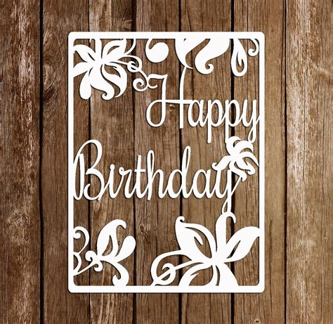 easy card template for paper cutting paper cutting template papercut birthday template pdf svg