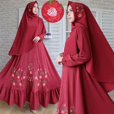 Gamis Polos Wolvis Wolfis Woolpeach Syari Busui Ungu Terong baju gamis syari woolpeach bordir busana muslim modern
