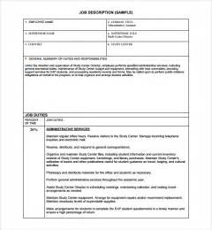 sample job description template 9 free documents