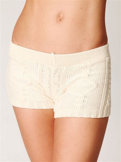 cable knit shorts lyst free micro cable knit shorts in