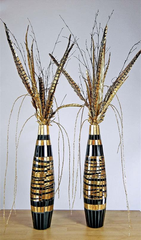 Tall Skinny Glass Vases Black And Gold African Floral Arrangements Two By Rachelsheart