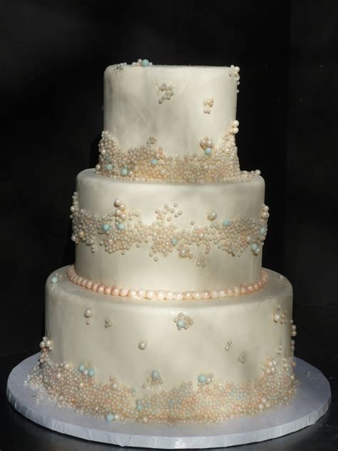 Wedding Cakes With Pearls by Artisan Bake Shop Wedding Cake Fondant Tiers With Pearls