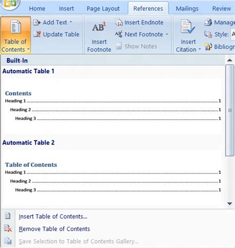 Microsoft Word Insert Table Of Contents by How To Insert Table Of Content In Ms Word Document