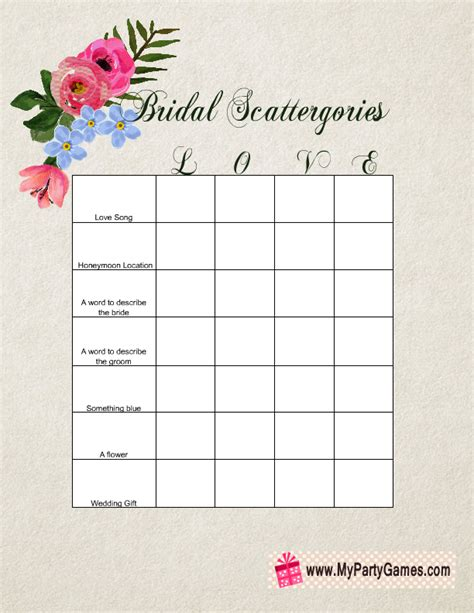personalized bridal shower scattergories bridal shower bridal shower scattergories free printable game