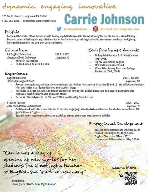 creative teacher resume global template creative