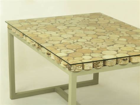 Handmade Small Birch Slices Wooden Coffee Table On A Birch Wood Coffee Table