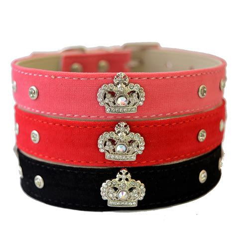 Width 1 5cm Collar Black suede leather collar designer rhinestone crown studded