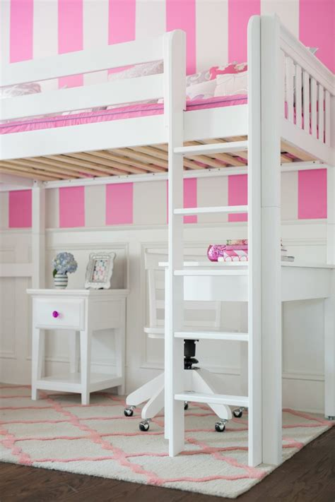 ladder for a white high loft bed with desk and