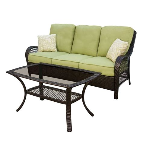 Shop hanover outdoor furniture orleans 2 piece wicker patio conversation set at lowes com