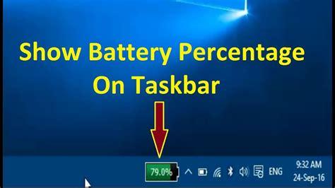 show battery percentage  taskbar  windows  howtosolveit youtube