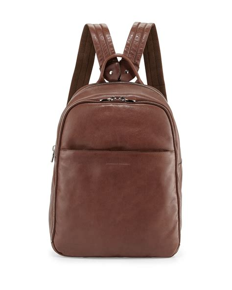 s leather backpack brown brunello cucinelli s calf leather backpack in brown