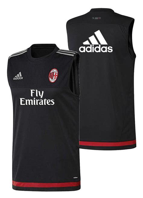 Sleeveless Football Ac Milan 014 sponsor fly emirates ac milan adidas shirt black sleeveless tank top ebay