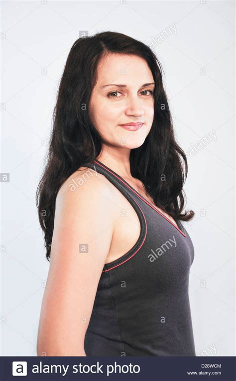 37 year old woman hair is dry 39 year old woman stock photo royalty free image