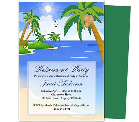 free templates for retirement invitations retirement templates paradise retirement party