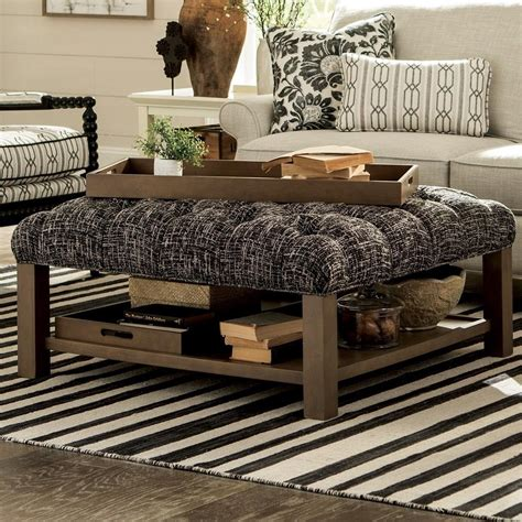 Decor Zebra Print Cocktail Storage Ottoman With Trays Craftmaster Accent Ottomans Cocktail Ottoman With Button
