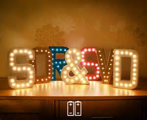 single marquee letter lights with warm white by