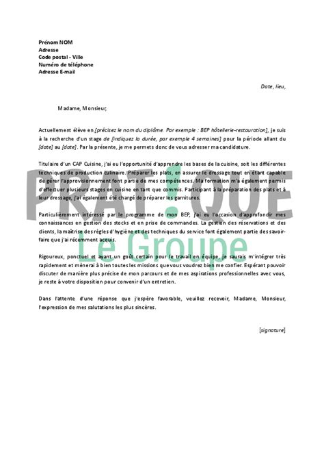 Stage Tourisme Lettre De Motivation Lettre De Motivation Pour Un Stage En Bep H 244 Tellerie Restauration Pratique Fr