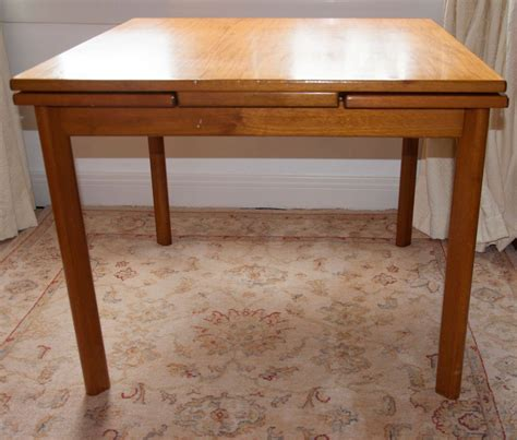 Large Well Made Vintage Walnut Wooden Draw Leaf Extending Square Dining Table With Leaves